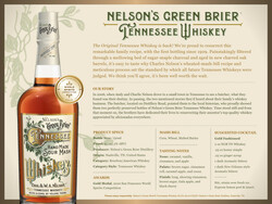 Nelson's Green Brier Tennessee Whiskey FY22 Sell Sheet