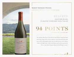 2018 Robert Mondavi Winery Napa Valley Reserve Fume Blanc, To Kalon Hot Sheet Jeb Dunnuck August 2021 94 Points