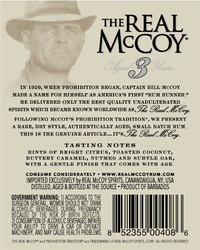The Real McCoy® Distiller's Proof 3 Year Single Blended Aged White Rum 750ml 80 Proof Back Label