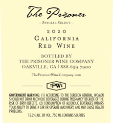 The Prisoner Special Select 2020 Red Wine 750ml Back Label
