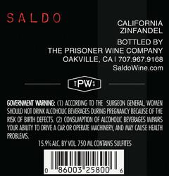Saldo Zinfandel 750ml Back Label