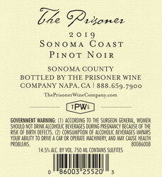2019 The Prisoner Sonoma Coast Pinot Noir 750ml Back Label