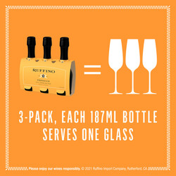 Ruffino Prosecco 187ml 3-Pack Bottles EdPi Image - Size