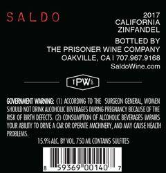 2017 Saldo Zinfandel 750ml Back Label