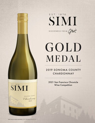 SIMI 2019 Sonoma County Chardonnay Hot Sheet 2021 San Francisco Chronicle Wine Competition Gold