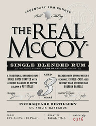 The Real McCoy® 3 Year Single Blended Aged White Rum 750ml 80 Proof Front Label