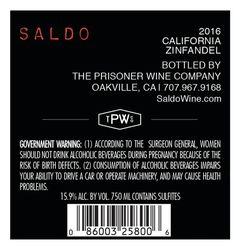 2016 SAL Zinfandel 750ml Back Label