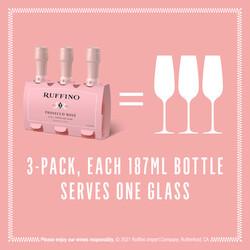 Ruffino Prosecco Rose 187ml 3-Pack Bottles EdPi Image - Size