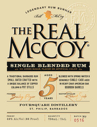 The Real McCoy® 5 Year Single Blended Aged Rum 750ml 80 Proof Front Label