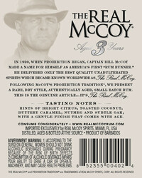 The Real McCoy® 3 Year Single Blended Aged White Rum 750ml 80 Proof Back Label