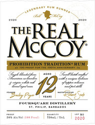 The Real McCoy Prohibition Tradition Limited Edition Aged 12 Years Rum 750ml Label