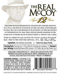 The Real McCoy Prohibition Tradition Limited Edition Aged 12 Years Rum 750ml Label - Back