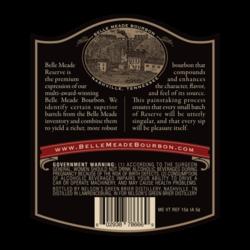 Belle Meade Bourbon Reserve 750ml Back Label