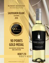 2018 Robert Mondavi Private Selection Sauvignon Blanc Hot Sheet 2020 Monterey International Wine Competition 90 Points Gold Medal
