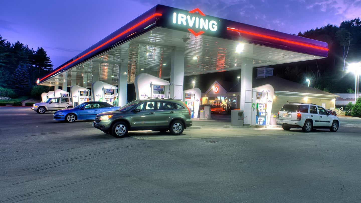 Irving Oil service station at night.