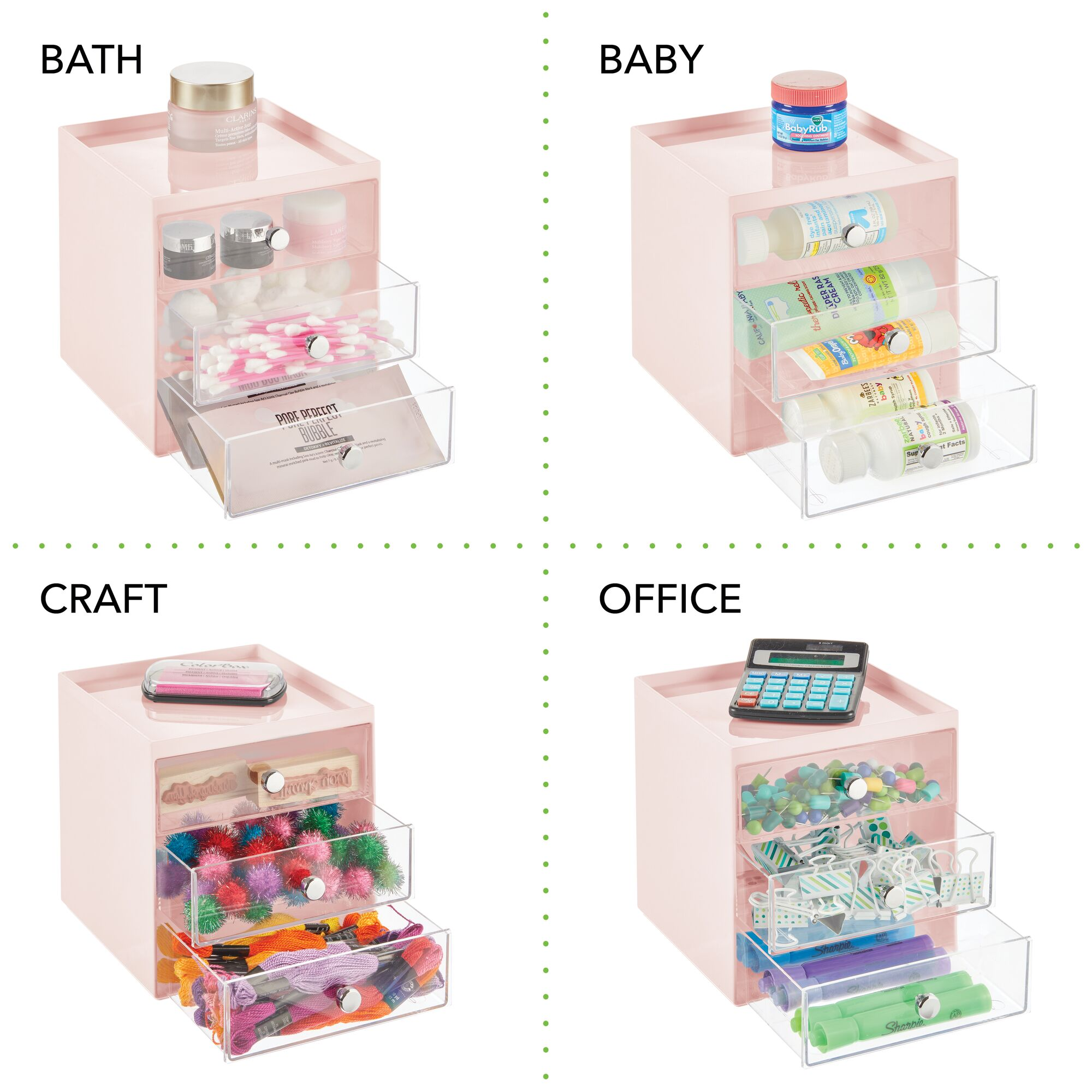 mDesign-Plastic-Makeup-Storage-Organizer-Cube-3-Drawers thumbnail 57