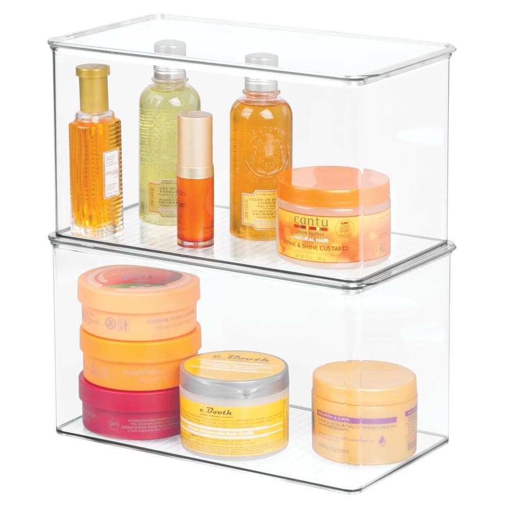 mDesign Stackable Bathroom Storage Bin Box with Lid, 7 ...