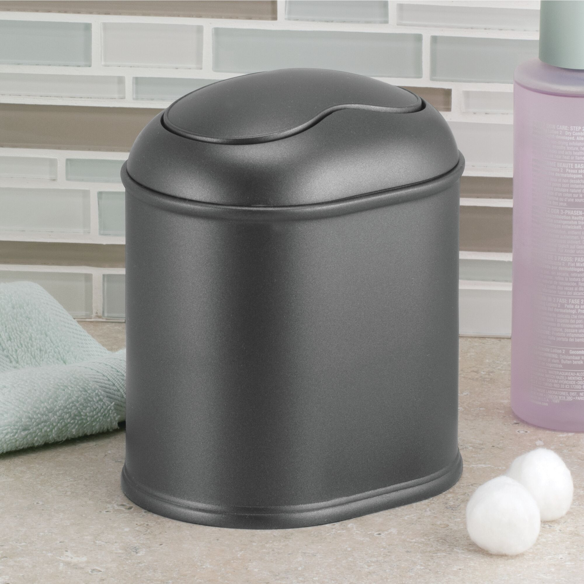 mdesign mini trash can with swing lid for bath vanity | ebay