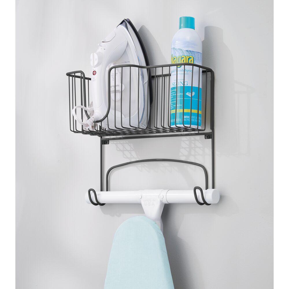 mDesign-Wall-Mount-Ironing-Board-Holder-Large-Storage-Basket thumbnail 36
