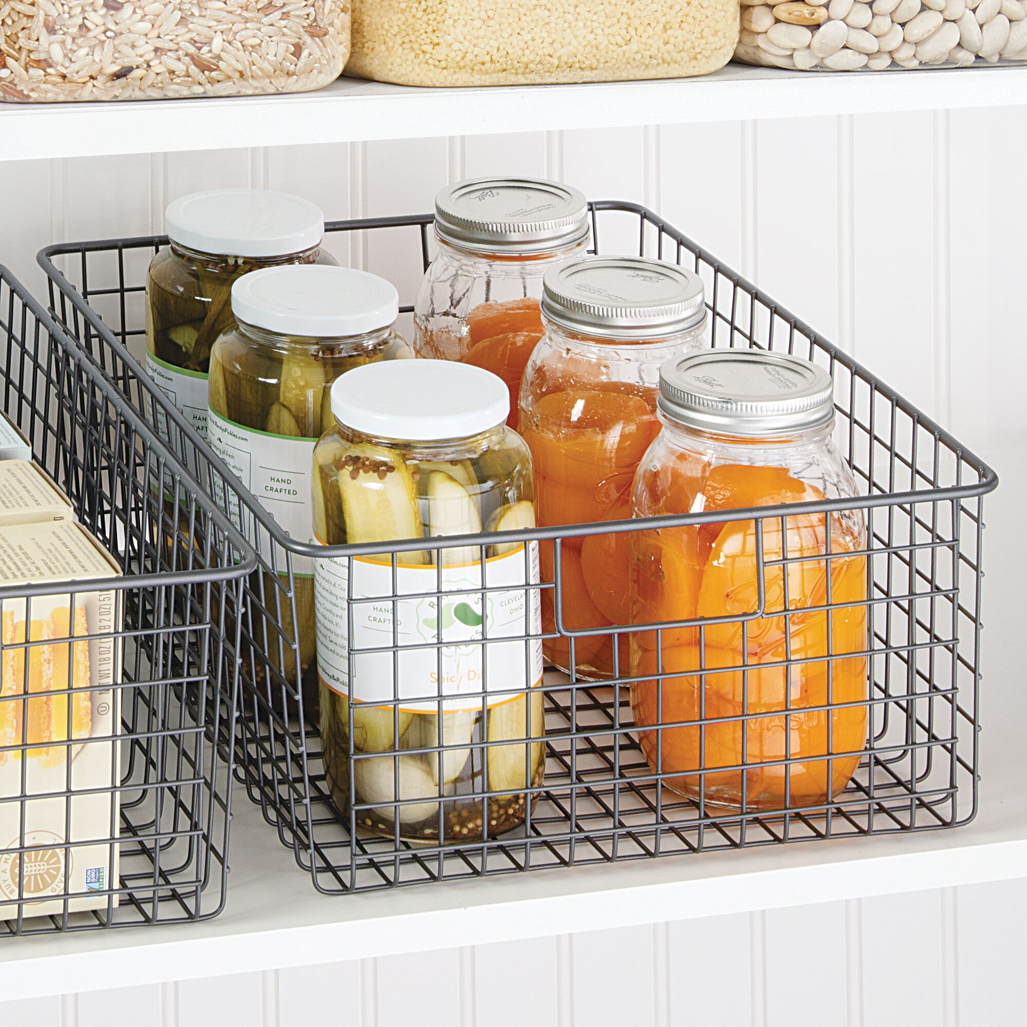 Подробные сведения о mDesign Metal Wire Food Organizer Storage Bins with  Handles, Bronze