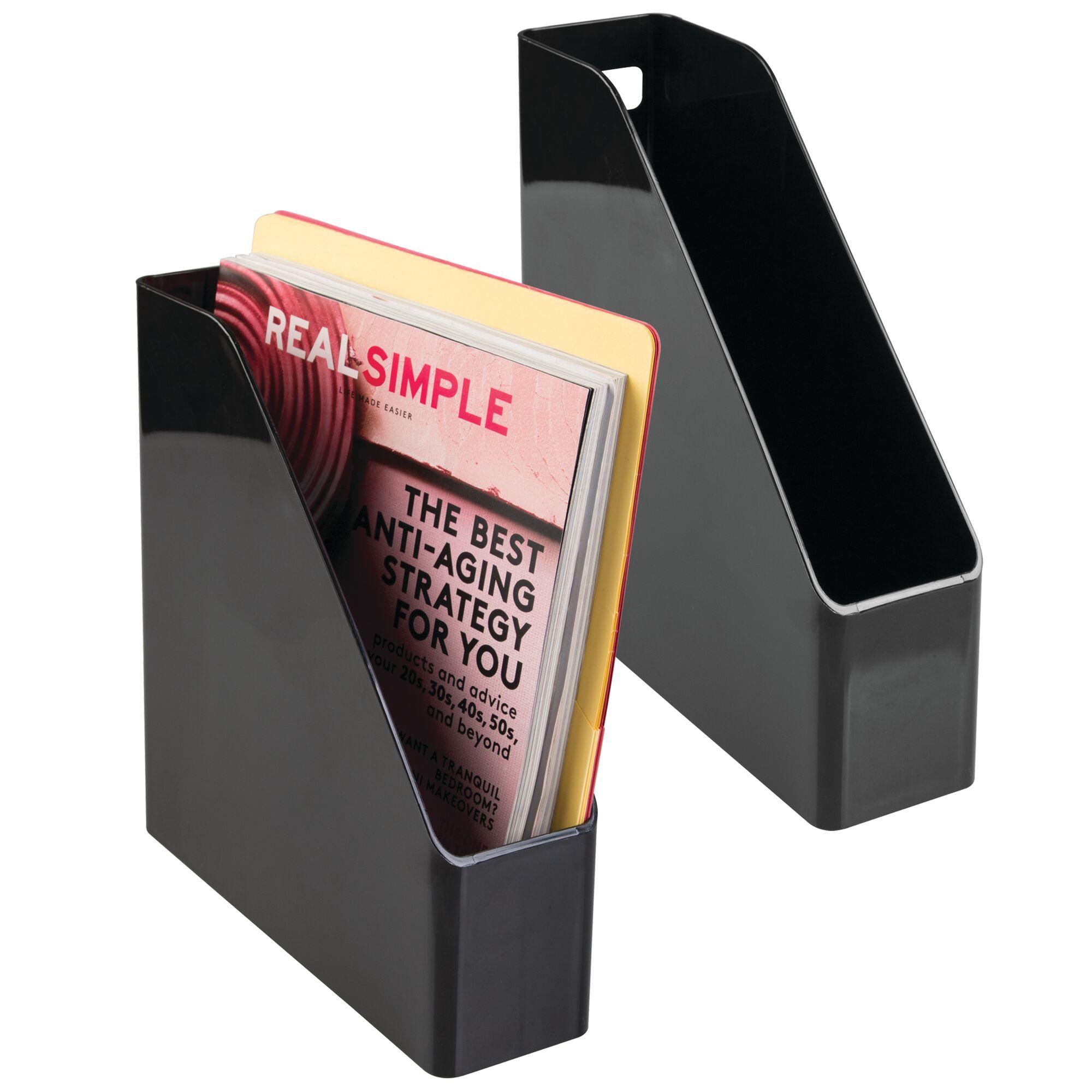 Coat Hooks mDesign Desk Office Magazine File Folder Organizer - Black
