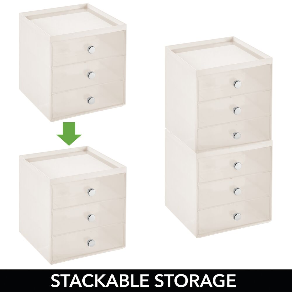 mDesign-Plastic-Makeup-Storage-Organizer-Cube-3-Drawers thumbnail 25