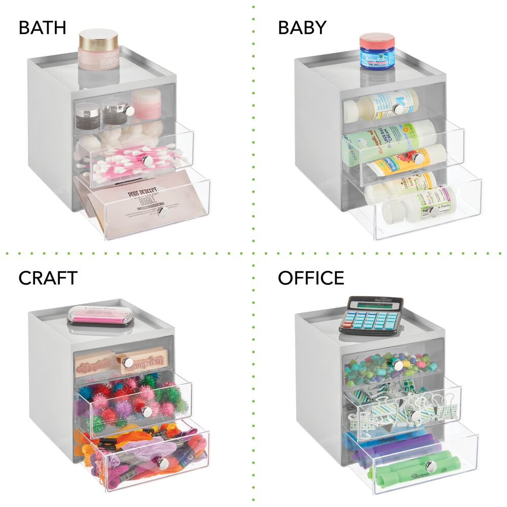 mDesign-Plastic-Makeup-Storage-Organizer-Cube-3-Drawers thumbnail 36