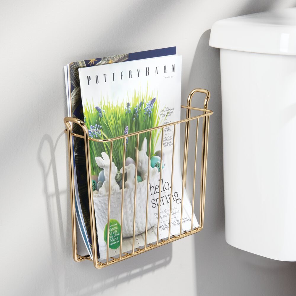 mDesign-Metal-Wall-Mount-Magazine-Book-Holder-Compact-Rack thumbnail 54