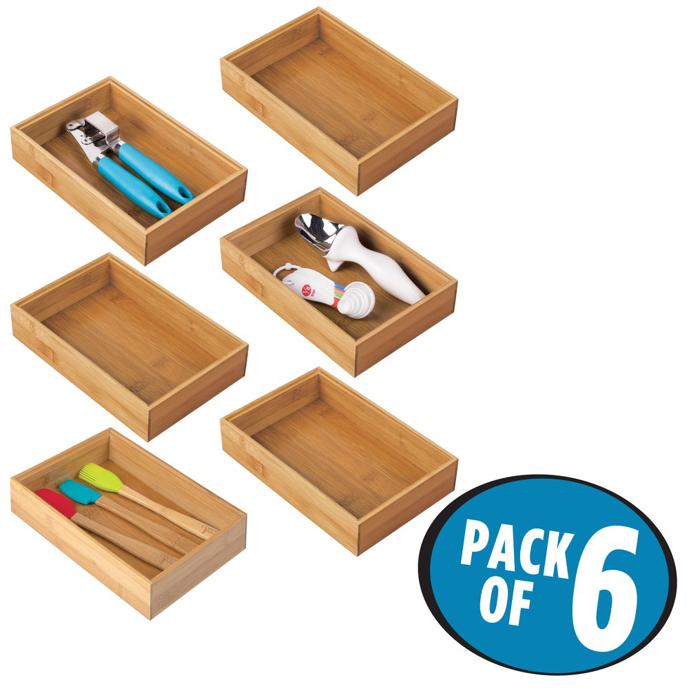 Details about mDesign Bamboo Stackable Kitchen Drawer Organizer Tray