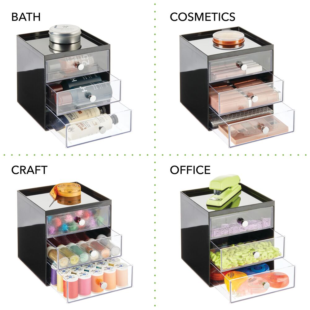mDesign-Plastic-Makeup-Storage-Organizer-Cube-3-Drawers thumbnail 12