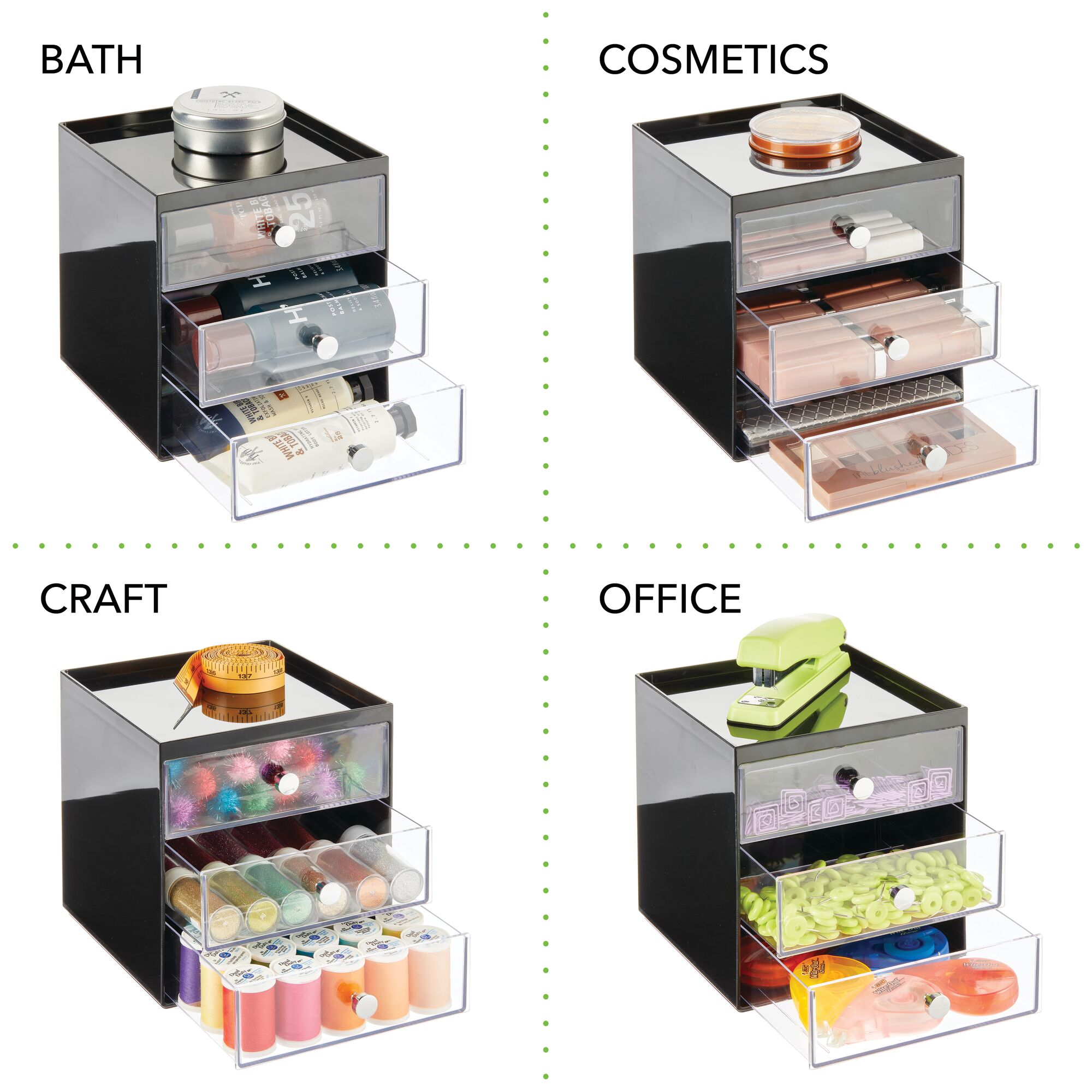 mDesign-Plastic-Makeup-Storage-Organizer-Cube-3-Drawers thumbnail 21