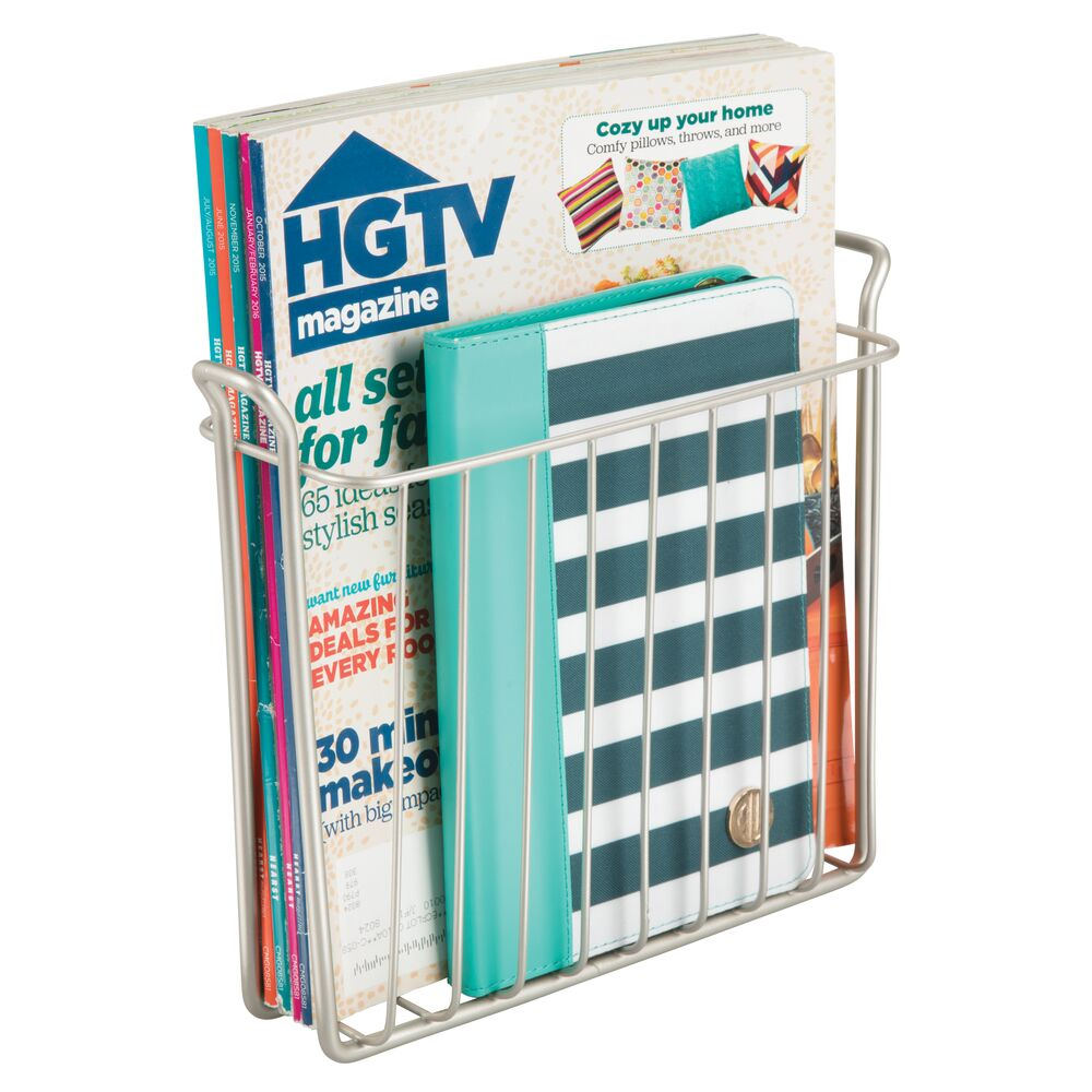 mDesign-Metal-Wall-Mount-Magazine-Book-Holder-Compact-Rack thumbnail 45