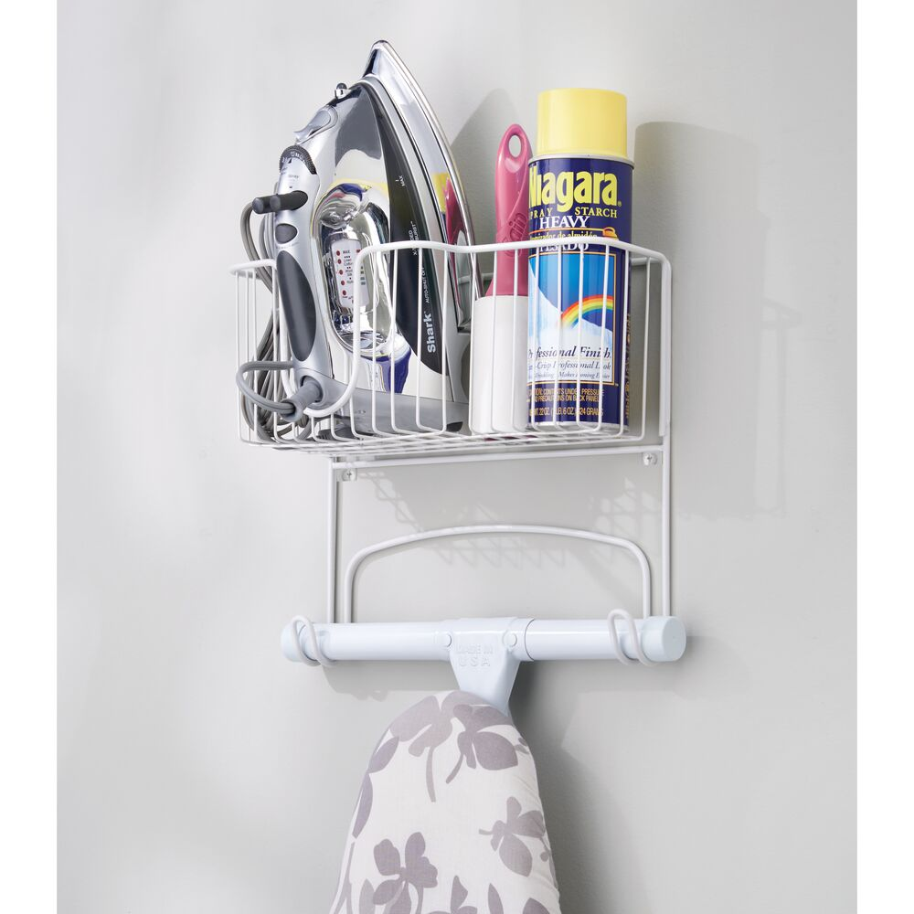 mDesign-Wall-Mount-Ironing-Board-Holder-Large-Storage-Basket thumbnail 51