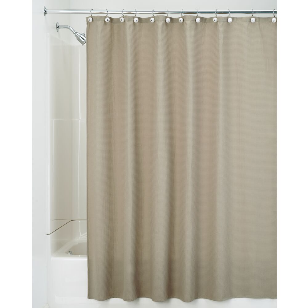 MDesign EXTRA LONG Waffle Weave Fabric Shower Curtain