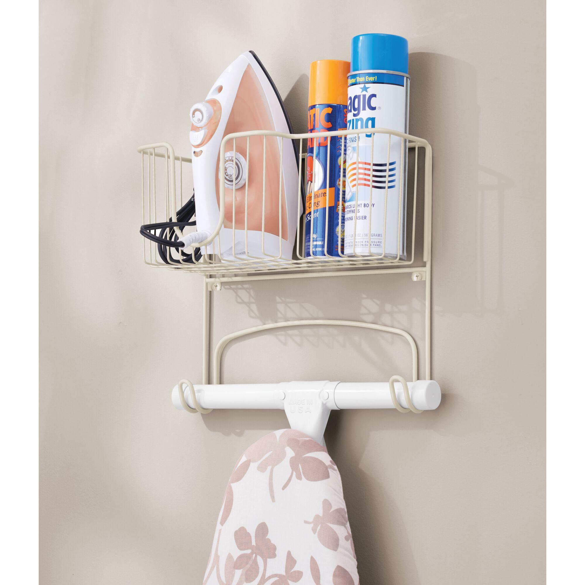 mDesign-Wall-Mount-Ironing-Board-Holder-Large-Storage-Basket thumbnail 48