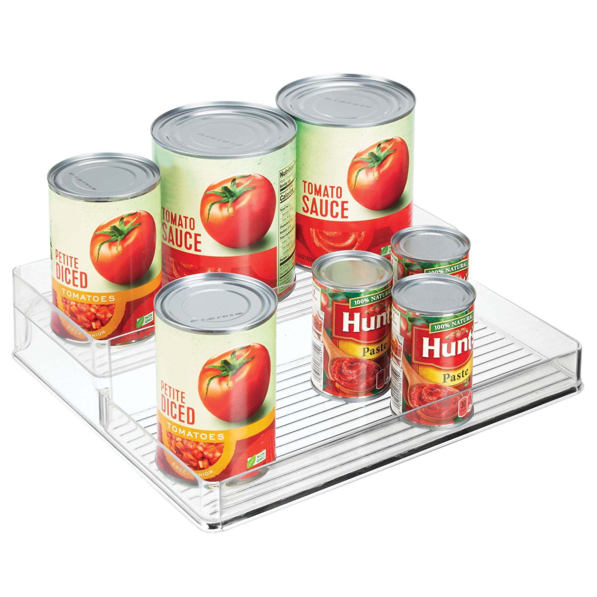 Clear Spice Rack mDesign Plastic Kitchen Tiered Food Storage Shelves 2 Levels