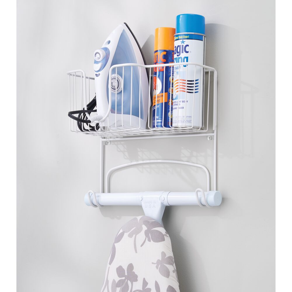 mDesign-Wall-Mount-Ironing-Board-Holder-Large-Storage-Basket thumbnail 53
