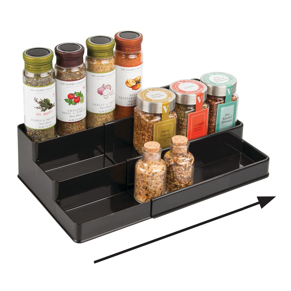 mDesign-Expandable-Kitchen-Cabinet-Pantry-Organizer-Spice-Rack thumbnail 3