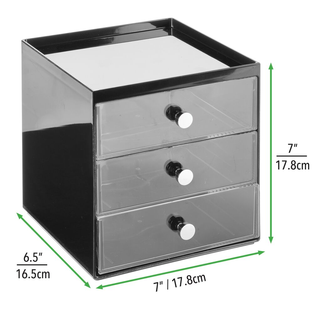 mDesign-Plastic-Makeup-Storage-Organizer-Cube-3-Drawers thumbnail 14