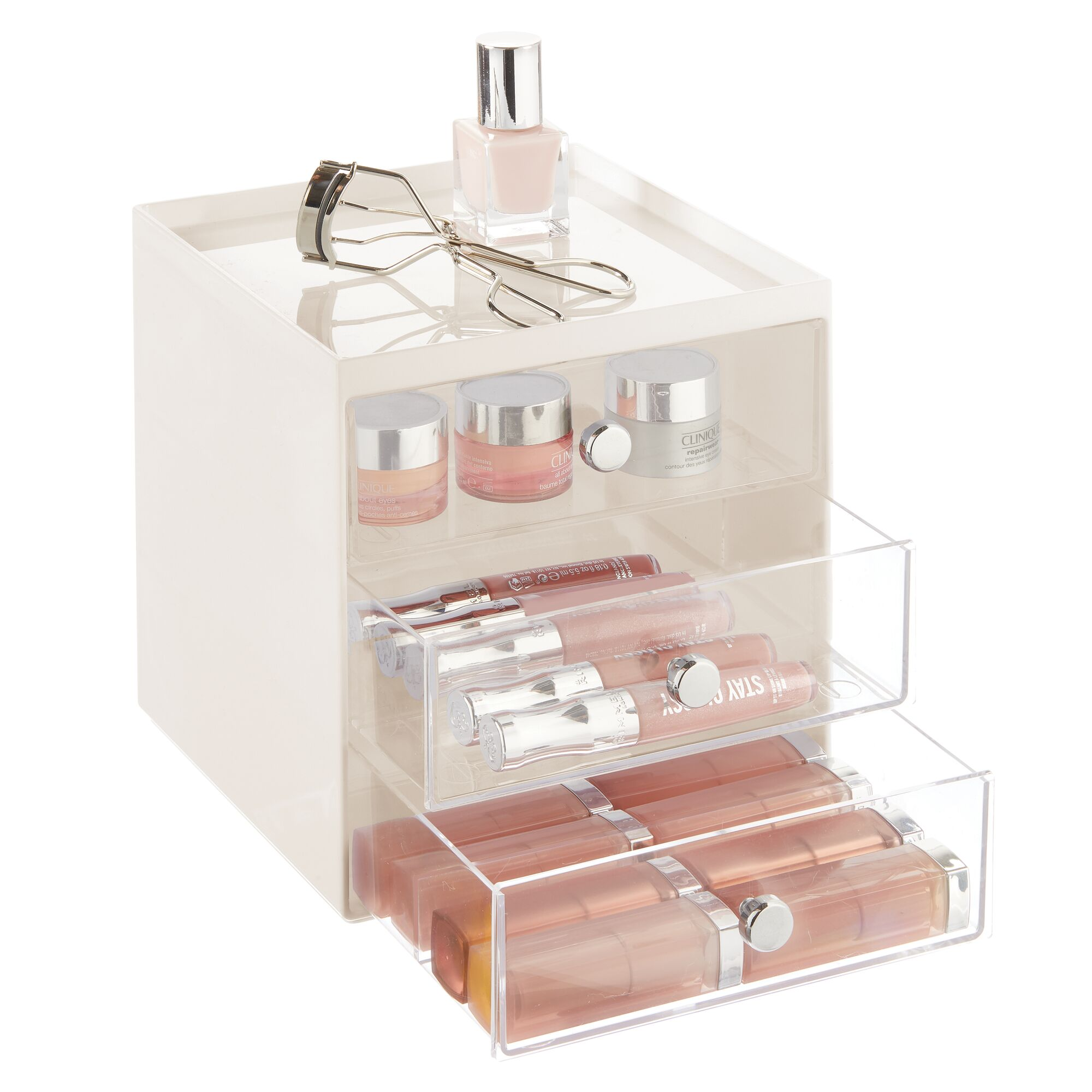 mDesign-Plastic-Makeup-Storage-Organizer-Cube-3-Drawers thumbnail 31