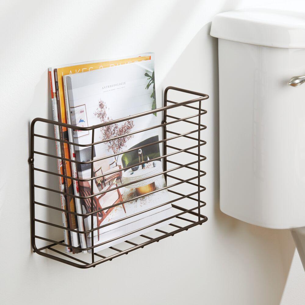 mDesign-Metal-Wall-Mount-Magazine-Holder-Storage-Organizer-Rack thumbnail 11