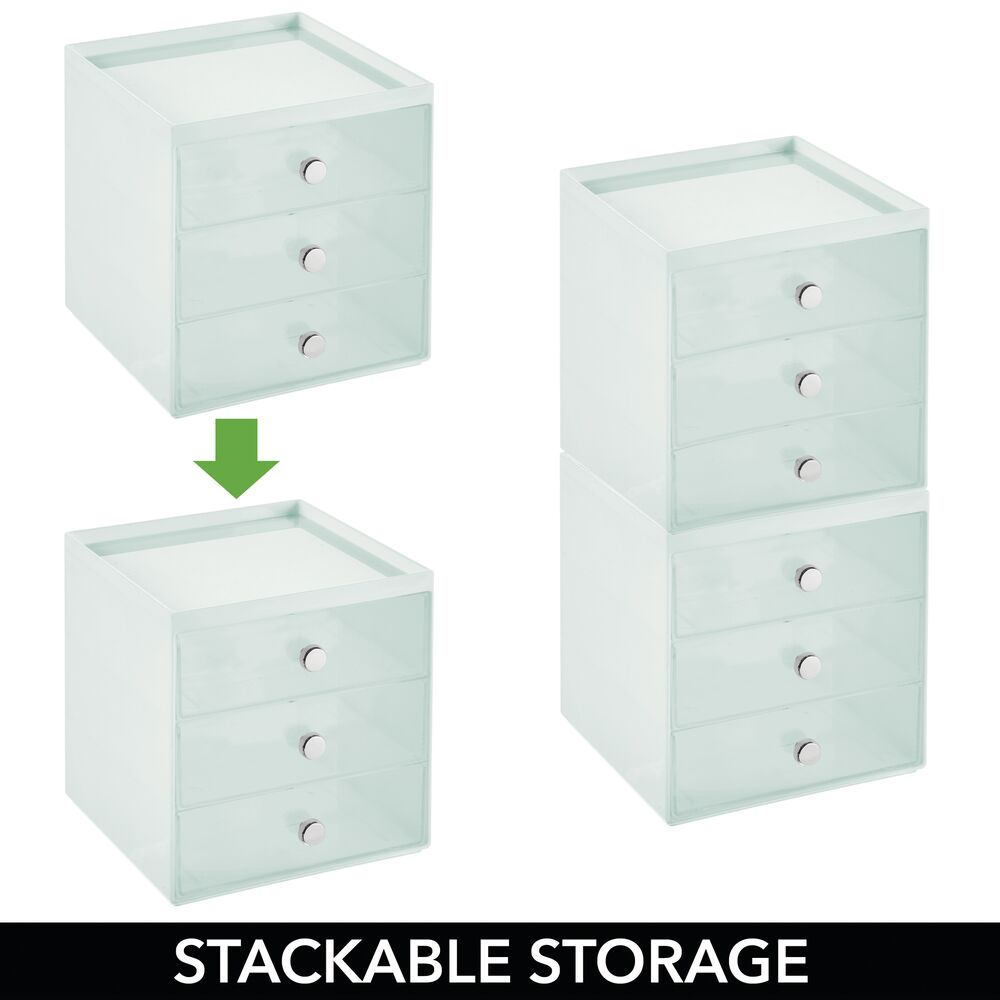 mDesign-Plastic-Makeup-Storage-Organizer-Cube-3-Drawers thumbnail 61