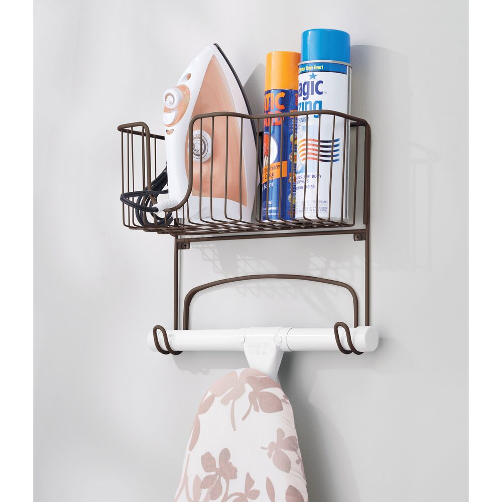 mDesign-Wall-Mount-Ironing-Board-Holder-Large-Storage-Basket thumbnail 10