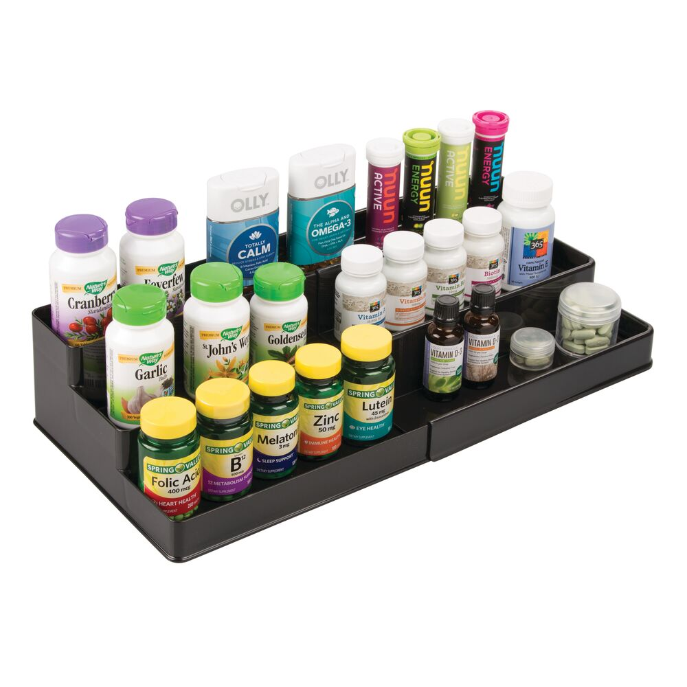 mDesign-Expandable-Kitchen-Cabinet-Pantry-Organizer-Spice-Rack thumbnail 4
