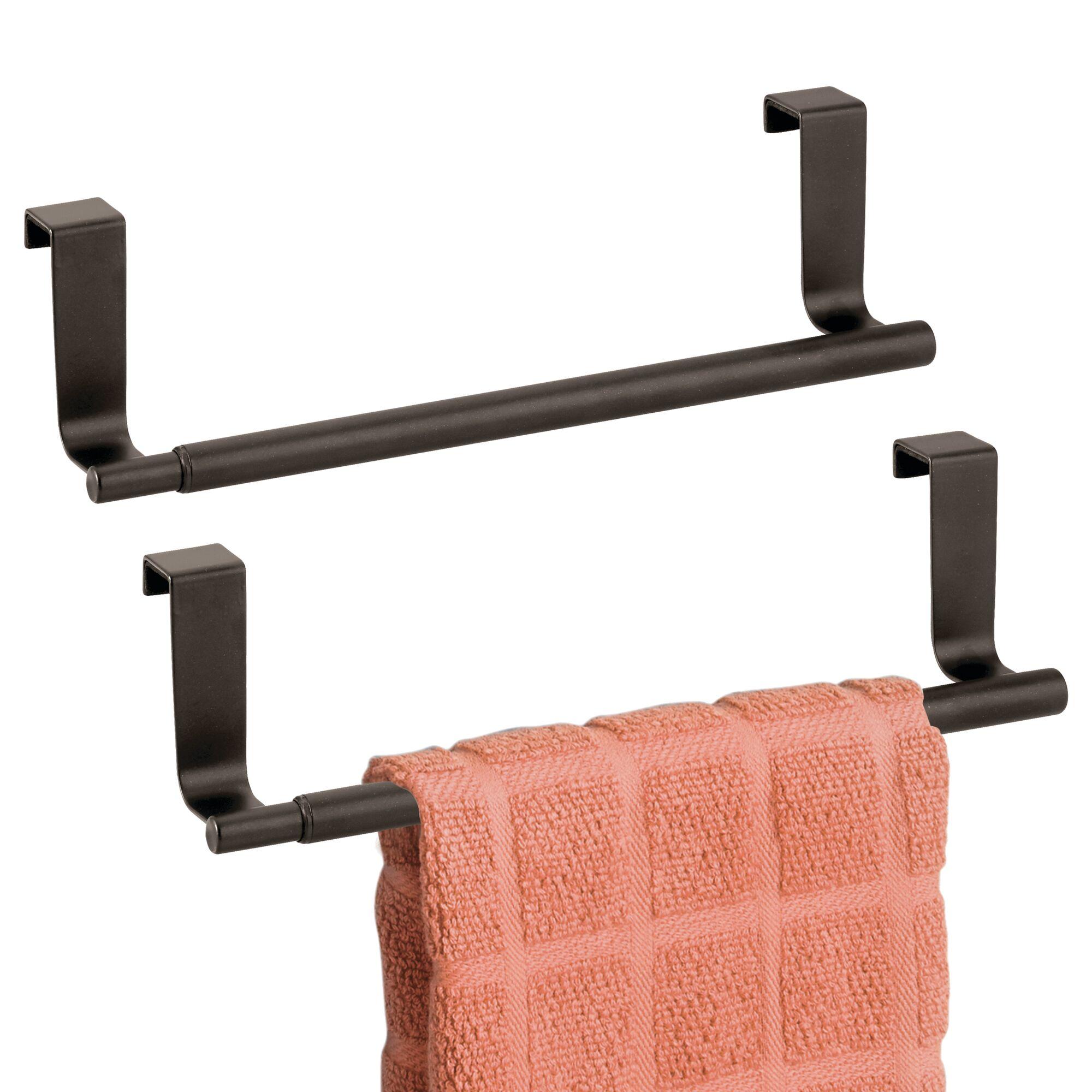 Mdesign Expandable Kitchen Over Cabinet Towel Bar Rack 2 Pack