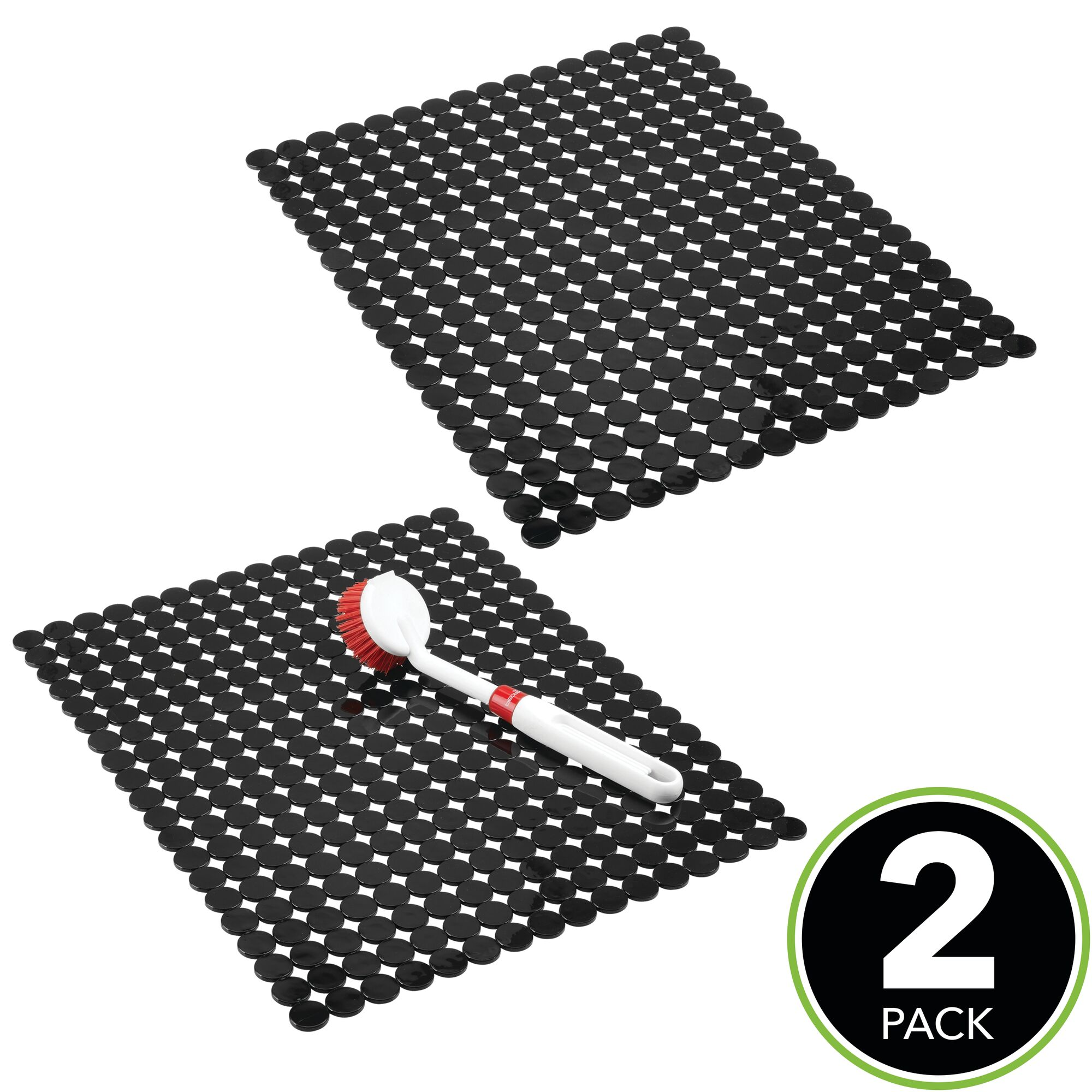 Mdesign Kitchen Sink Protector Mat Circle Design Large 2 Pack