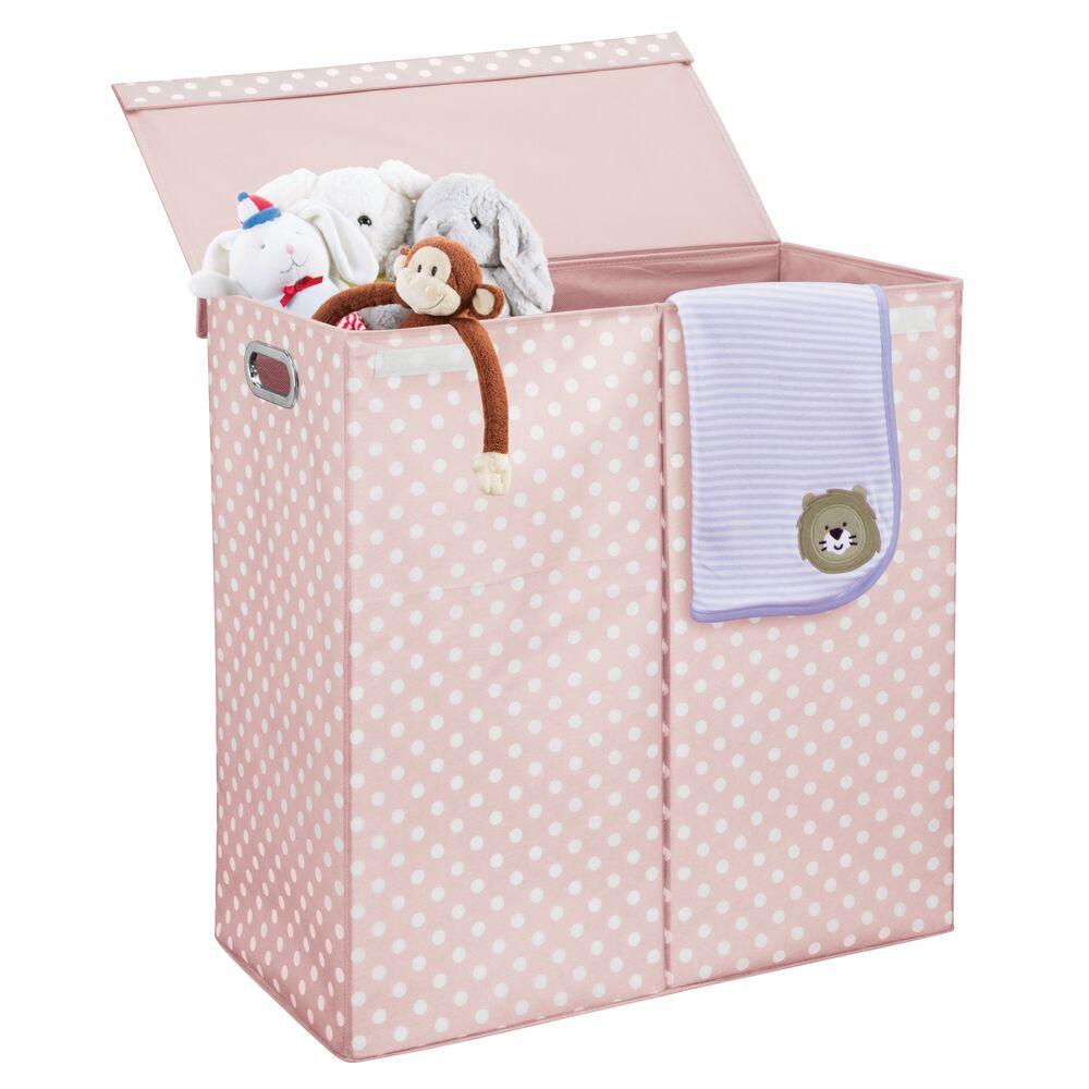 Mdesign Divided Laundry Hamper Basket With Lid Chrome
