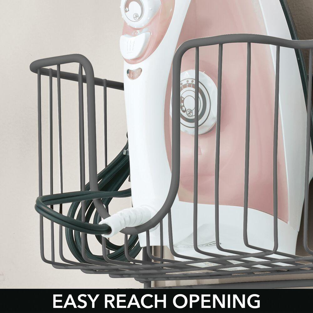 mDesign-Wall-Mount-Ironing-Board-Holder-Large-Storage-Basket thumbnail 28