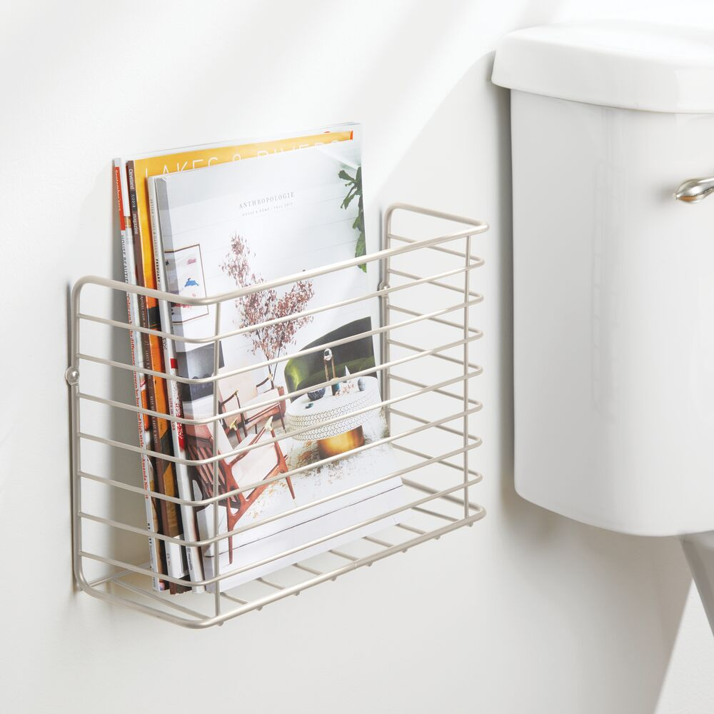 mDesign-Metal-Wall-Mount-Magazine-Holder-Storage-Organizer-Rack thumbnail 44