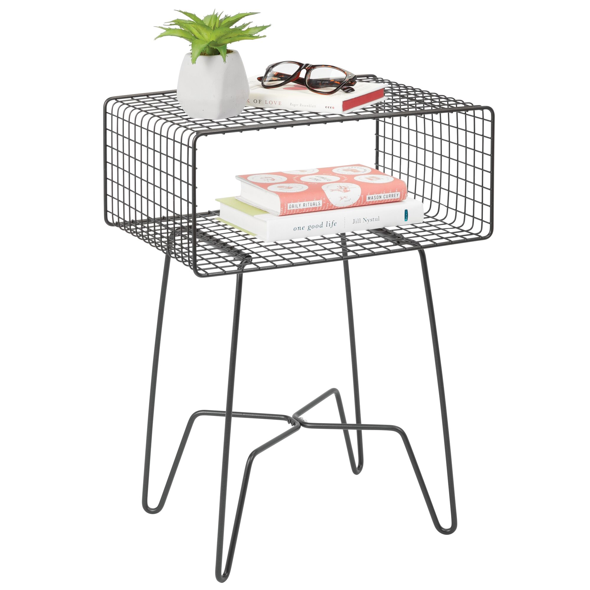 Merveilleux MDesign Modern Farmhouse Home Decor End Table Wire